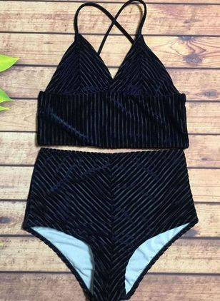 Polyester Solid Tankinis Swimwear (148003456)