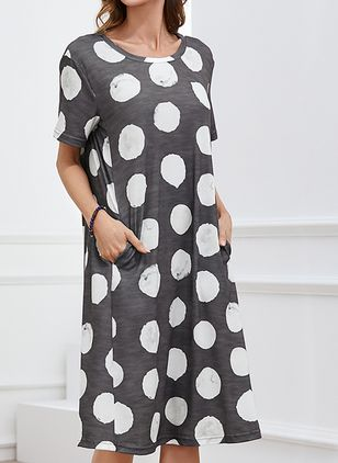 Casual Polka Dot Shirt Round Neckline Shift Dress (4864739)