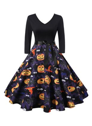 Halloween Color Block V-Neckline Midi X-line Dress (111607827)
