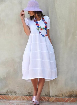 Cotton Solid Tshirt Short Sleeve Knee-Length Dress