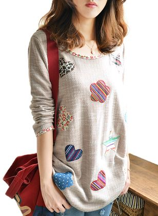 Floral Round Neck Long Sleeve Cute T-shirts