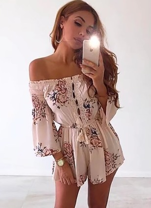 Polyester Floral 3/4 Sleeves Lace Jumpsuits & Rompers