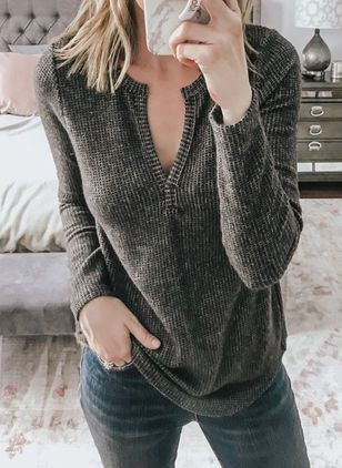 V-Neckline Solid Casual Loose Regular Shift Sweaters (103038517)