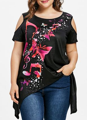 Plus Size Color Block Casual Round Neckline Short Sleeve Blouses