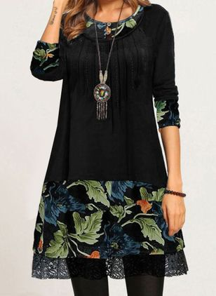 Casual Floral Tunic Round Neckline A-line Dress (110516844)