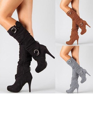 Grommet Mid-Calf Boots Stiletto Heel Shoes (1222620)
