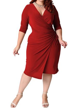 Plus Size Solid V-Neckline Casual Sashes Midi Plus Dress (1524862)