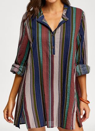 Plus Size Stripe Casual V-Neckline 3/4 Sleeves Blouses (1304901)