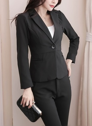 Polyester Long Sleeve Lapel Buttons Pockets Blazers