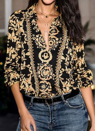 Floral Elegant Collar Long Sleeve Blouses