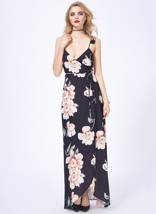 Floral Camisole Neckline Sleeveless Maxi A-line Dress
