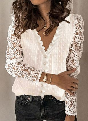 V-Neckline Solid Casual Loose Regular Lace Buttons Sweaters (146877061)