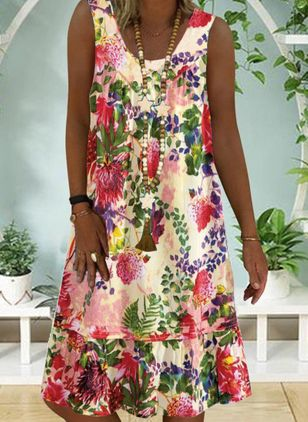 Casual Floral Tunic Round Neckline Shift Dress (100038069)
