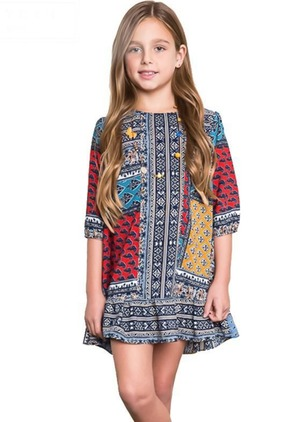 Girls' Color Block Daily 3/4 Sleeves Dresses
