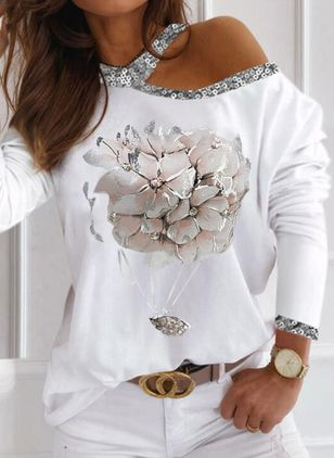 Floral Casual Round Neckline Long Sleeve Blouses (146914031)