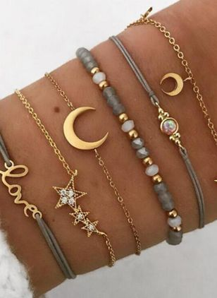 Casual Ball Moon Star Gemstone Link Bracelets (1543052)