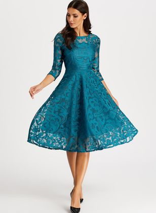 Elegant Solid Hollow Out Peasant A-line Dress (1292086)