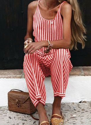 Casual Loose Polyester Pants Jumpsuits (4043235)