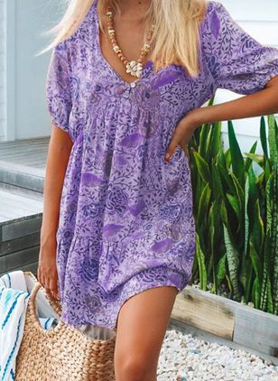 Casual Floral Shirt V-Neckline Shift Dress (4369570)