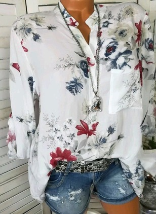 Floral Casual Stand Collar Long Sleeve Blouses