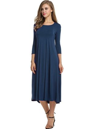 Solid 3/4 Sleeves Midi A-line Dress
