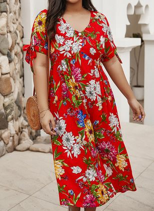 Plus Size Pencil Floral V-Neckline Casual Midi Plus Dress (4049383)