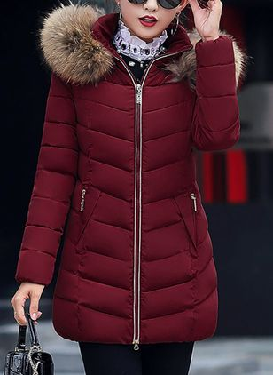 Long Sleeve Hooded Removable Fur Collar Padded Coats (1261090)