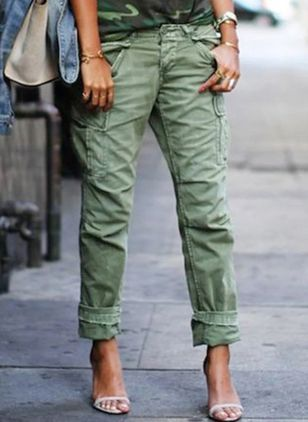 Casual Straight Buttons Pockets Low Waist Polyester Pants (122029337)