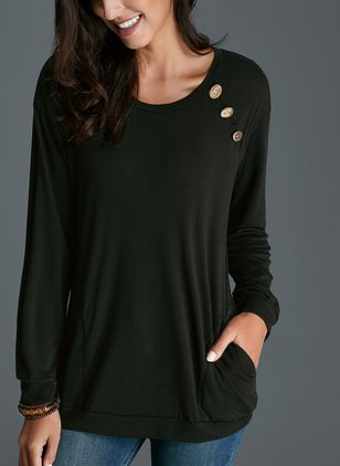 Round Neckline Solid Loose Long Pockets Buttons Sweaters