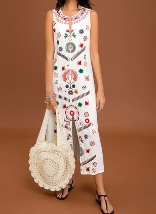 Color Block Embroidery Peasant Maxi A-line Dress