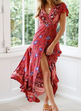 Casual Floral Wrap V-Neckline X-line Dress (4355657)