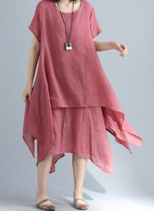 Casual Solid Tunic Round Neckline A-line Dress (100001975)