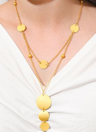 Casual Round No Stone Pendant Necklaces (6211660)