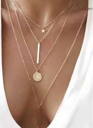 Casual Geometric Star Round No Stone Pendant Necklaces (4073868)