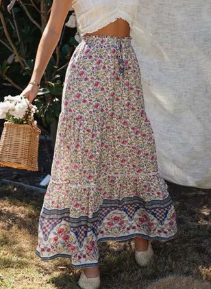 Floral Maxi Casual Skirts (146993736)