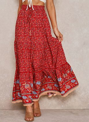 Floral Maxi Casual Skirts (106153894)