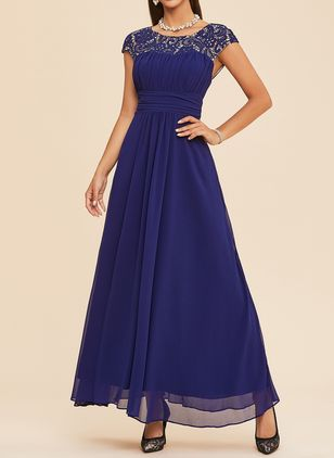 Elegant Solid Lace Boat Neckline A-line Dress (1258127)