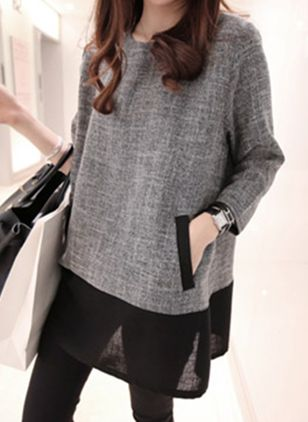 Round Neckline Color Block Loose Long Pockets Shift Sweaters