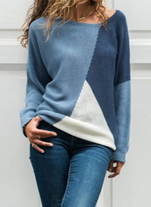 Round Neckline Color Block Casual Loose Regular Shift Sweaters (105809713)