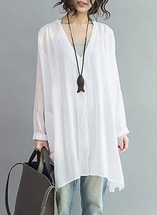 Solid Cotton Blends V-Neckline Long Sleeve Blouses