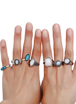 Geometric Round Gemstone Rings 7pcs