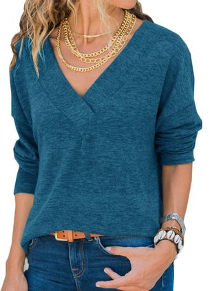 V-Neckline Solid Casual Loose Regular Shift Sweaters (108860532)
