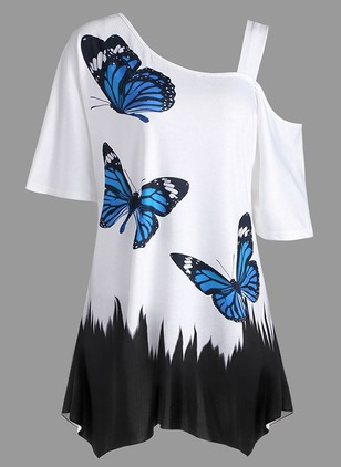 Polyester Color Block Oblique Neckline Short Sleeve T-shirts