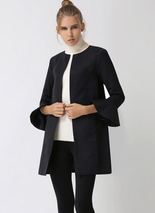 Long Sleeve Collarless Peacoats