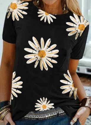 Floral Round Neck Short Sleeve Casual T-shirts (4127840)