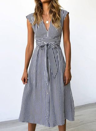 Elegant Stripe V-Neckline Midi X-line Dress (4219764)