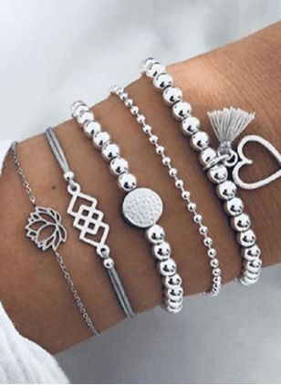 Casual Tassel Heart Beaded Bracelets (1541710)