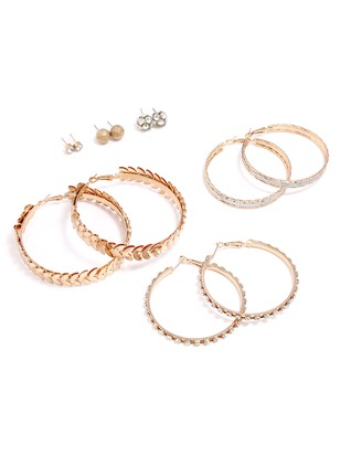 Round No Stone Hoop Earrings 6 pairs