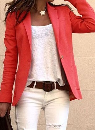 Long Sleeve Lapel Pockets Blazers