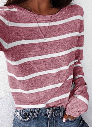 Stripe Round Neck Long Sleeve Casual T-shirts (106293941)
